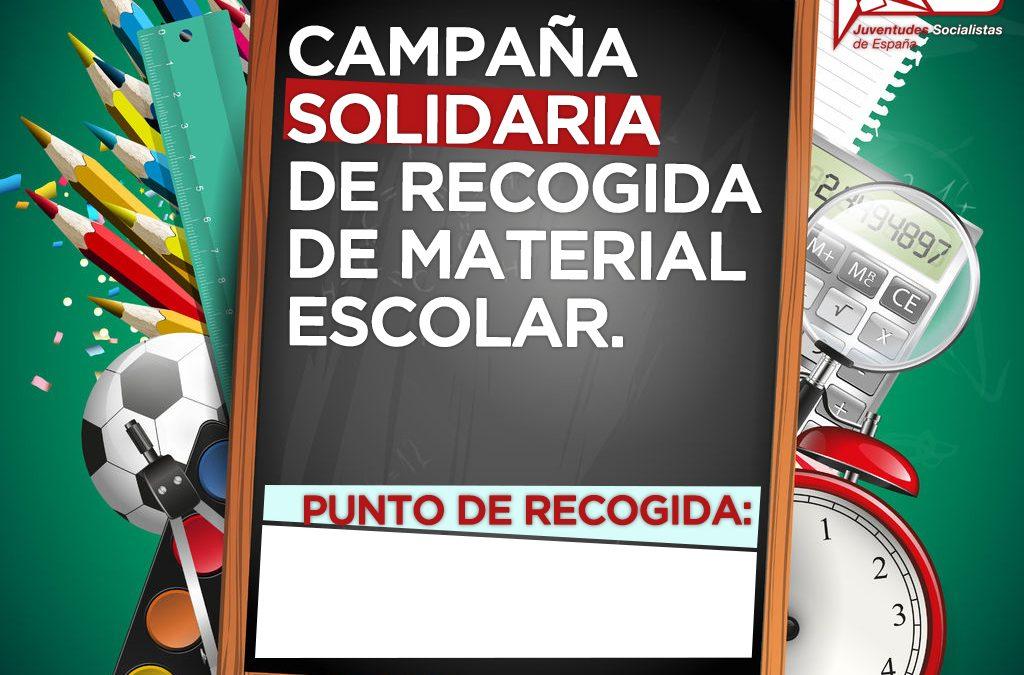 Juventudes Socialistas de España inicia una campaña solidaria con el objetivo recoger material escolar