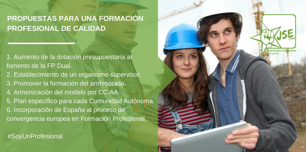 Juventudes Socialistas insta al Gobierno a elaborar un plan específico para el fomento de la formación profesional.