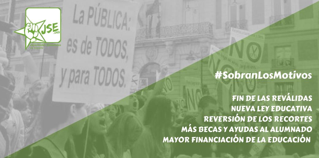 Juventudes Socialistas se suma a las movilizaciones del 8 de Mayo en favor de la Escuela Pública.