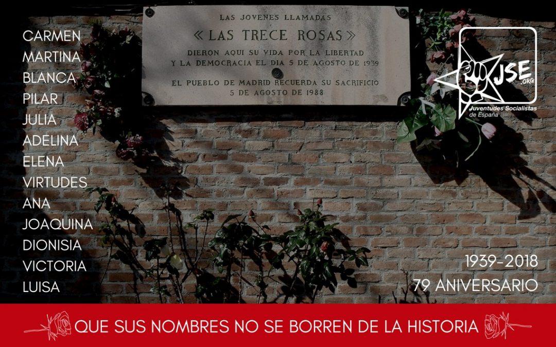 Juventudes Socialistas conmemora el 79 aniversario del fusilamiento de las Trece Rosas.