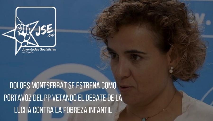 Juventudes Socialistas tacha de insensible a Dolors Montserrat por vetar en el Parlamento una iniciativa contra la pobreza infantil