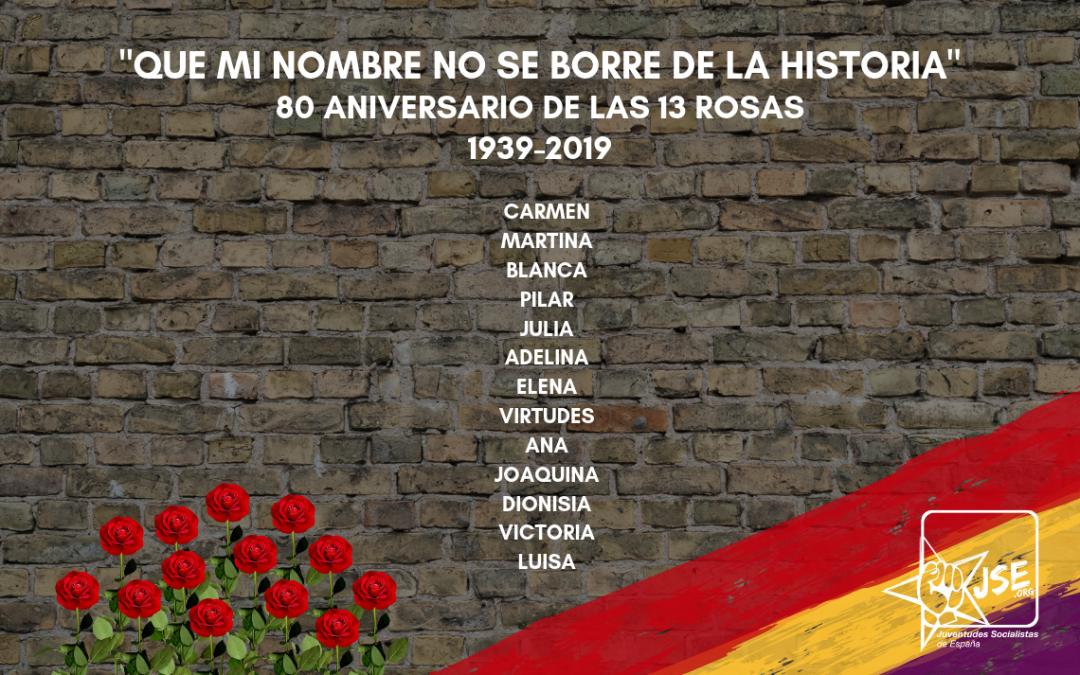 Juventudes Socialistas conmemora el 80 aniversario del fusilamiento de las Trece Rosas.